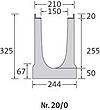 BIRCOlight Dimension Nominale 150 AS Caniveaux Caniveaux avec pente intérieure de 0.5%